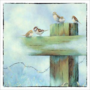 Schilderij musjes op hek, afgedrukt op luxe dubbele kunstkaart. Geschilderd door Fenna Moehn