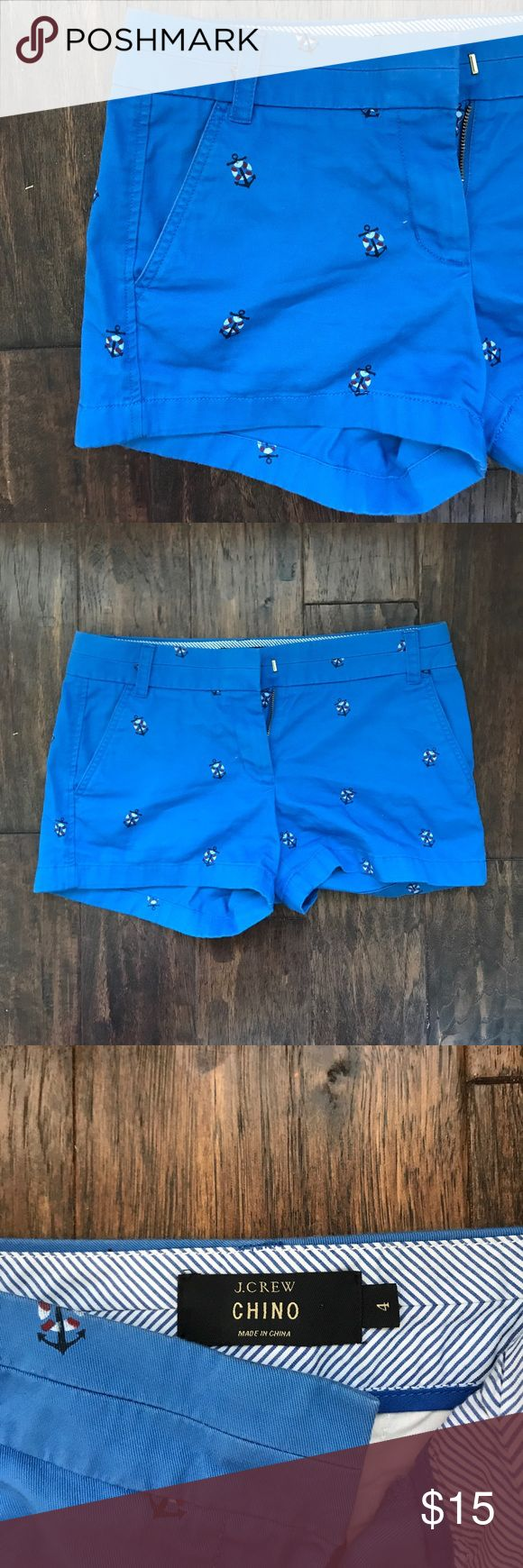 J. Crew chino nautical shorts Good condition chino shorts in blue with anchors. J. Crew Shorts
