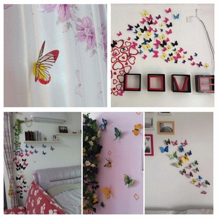 12Pcs 3D Butterfly Brooch Wall Sticker Home Room Curtain Wedding Decoration