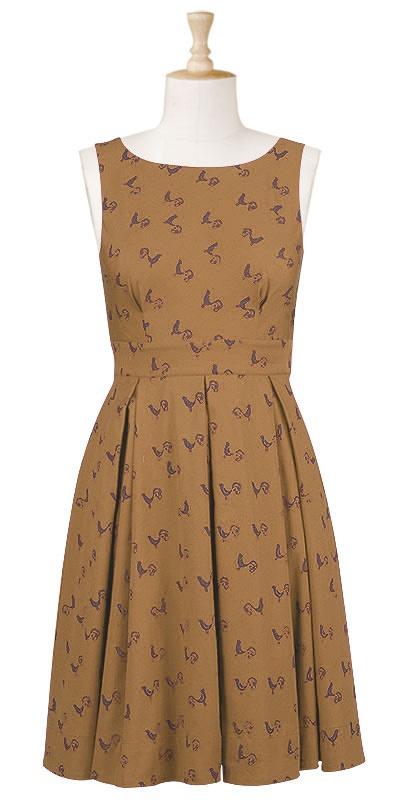 Bird motif wood block print dress by eShakti