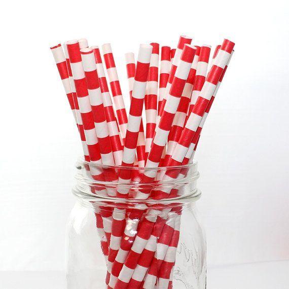 Papieren rietjes Rode strepen horizontaal €3,50 http://maisonmansion.com/product/papieren-rietjes-rode-strepen-horizontaal/