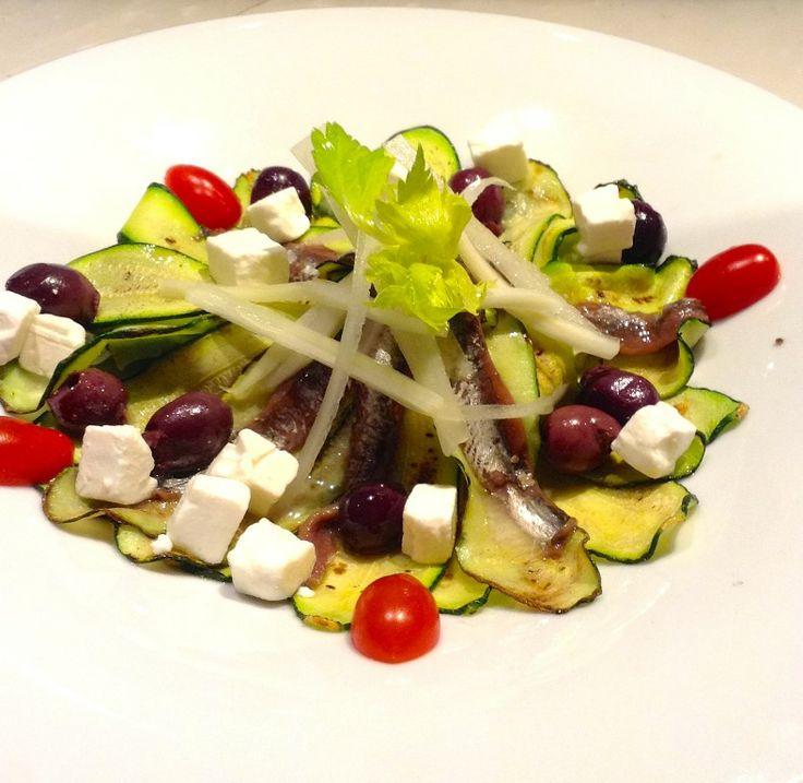 Insalata di Zucchine Grigliate, Feta Greca e Acciughe del Cantabrico. #lunch #alcristo