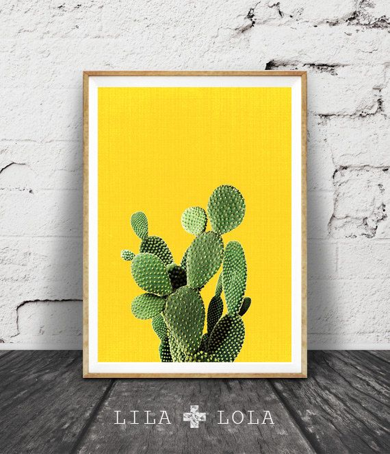 Cactus Print Yellow Wall Art Cactus Art Mexican by LILAxLOLA