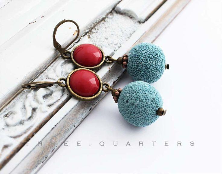 Orecchini pendenti - Orecchini, blu, rosso, pietra lavica, cabochon - un prodotto unico di three-quarters_diary su DaWanda