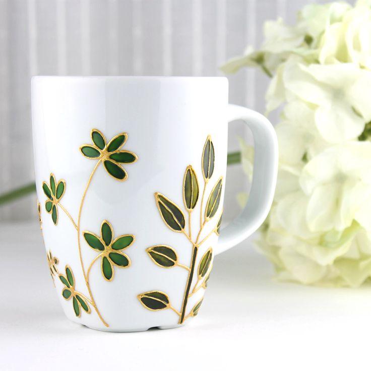 Green Foliage Mug, Hand Painted Porcelain Mug, Coffee Mug, Tea Mug, Porcelain Mug with Leaves, Botanical Design, Ready to Ship by witchcorner on Etsy https://www.etsy.com/listing/177888694/green-foliage-mug-hand-painted-porcelain