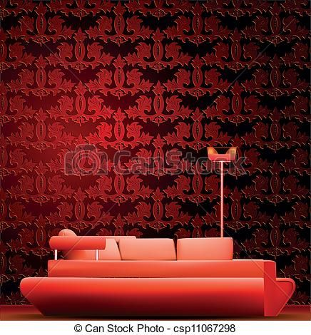 rött rum | Vektor - inre, rum, soffa, röd, tapet, vektor - stock illustration ...