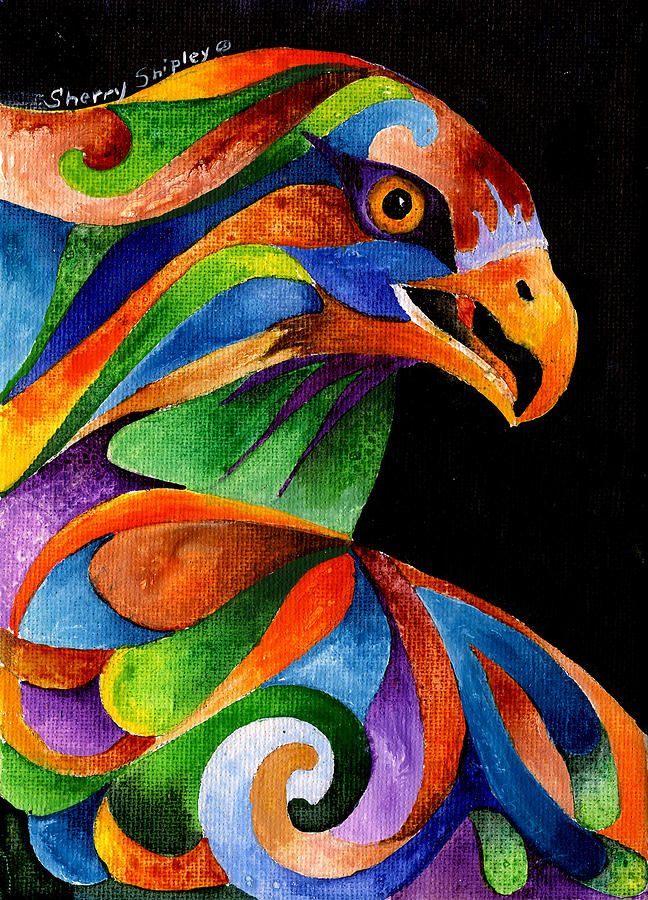 Rainbow Raptor Painting by Sherry Shipley - Rainbow Raptor Fine Art Prints and…