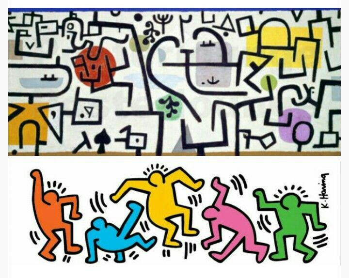 Paul Klee vs Keith Haring.  Via pabloortizdezarate.tumblr.com