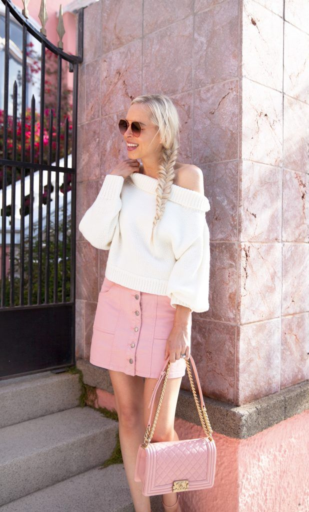 wearing the Shine For Me Skirt Dusty Pink azalea sf ivory sweater by ... dbf329dc1