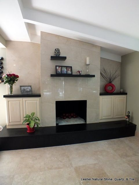 Contemporary Fireplace Surround And Raised Hearth Stone