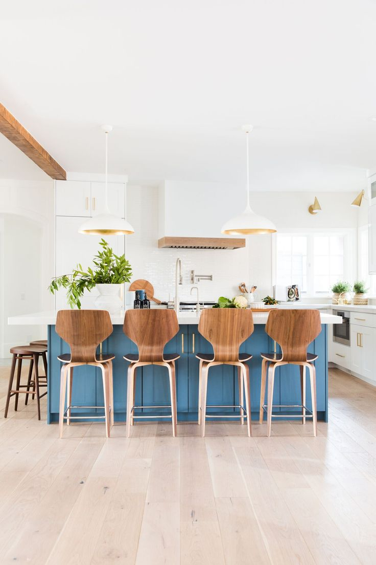 Bright, airy, modern, kitchen design inspiration. Blue Cabinets kitchen