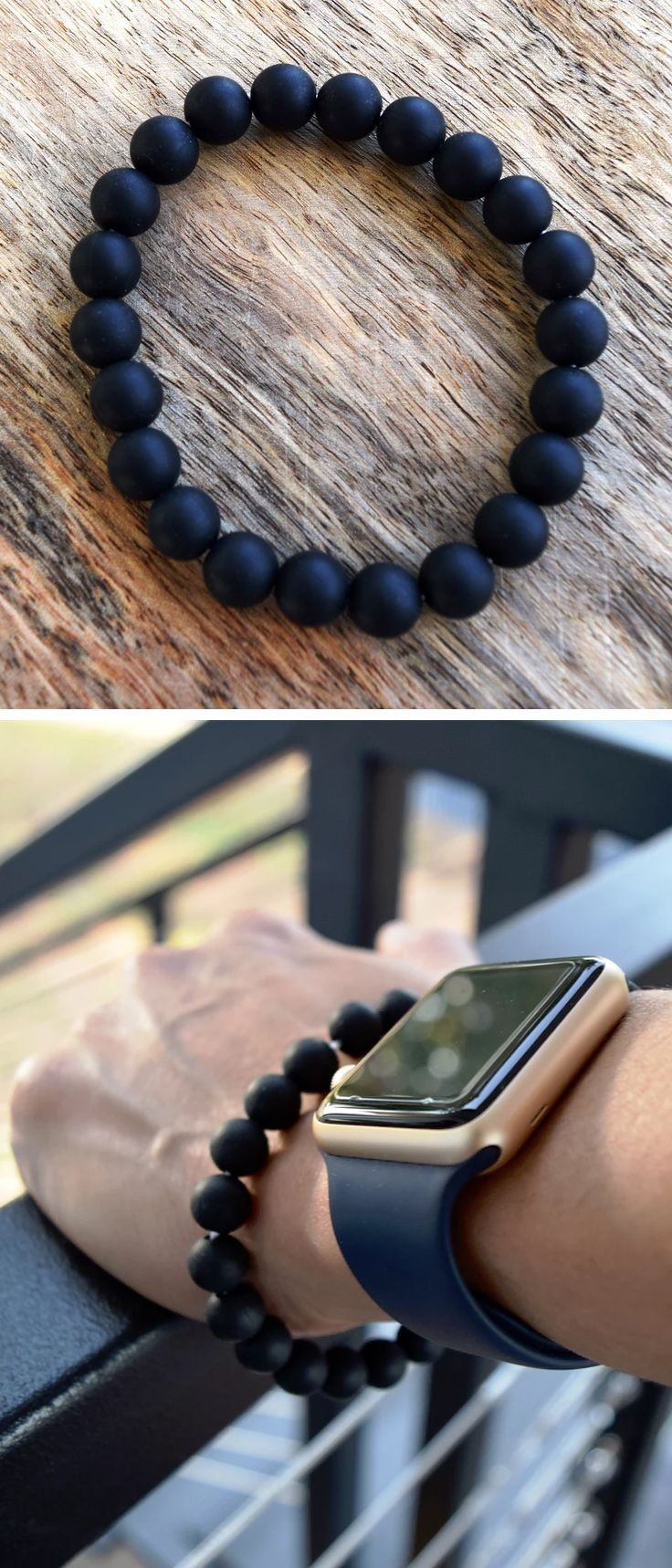 Men's Teething Bracelet - finally, some awesome stylish teething jewellery and accessories handmade especially for Dads from 100% non-toxic silicone beads by Zie and Me.