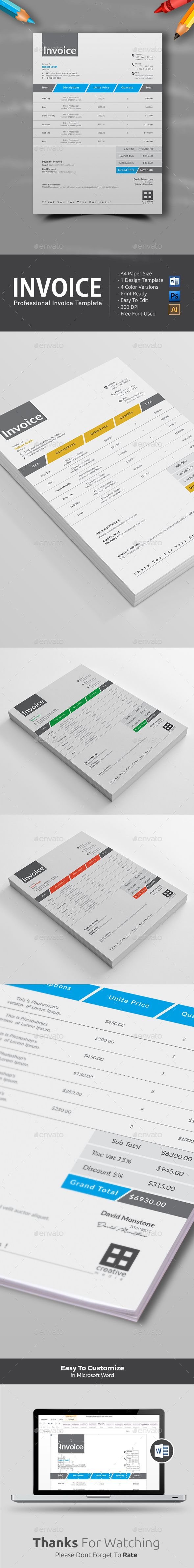 Invoice Template Design | Word Invoice Template | Instant Download https://graphicriver.net/item/invoice/17221087?ref=themedevisers