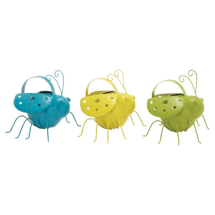 DecMode Whimsical Bug Watering Pails - Set of 3 - 50309