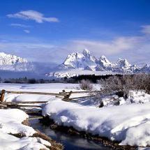 The Grand Tetons in Winter, Grand Teton National Park, Wyoming;