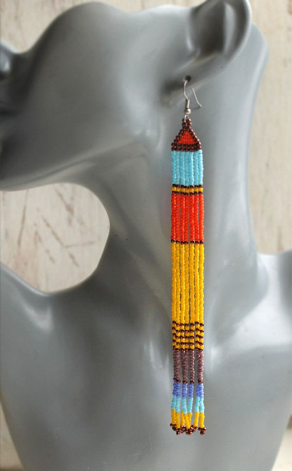 Multicolor shoulder duster earrings Unusual beaded earrings Very long dangle earrings Colorful seed bead jewelry Extra long fringe earrings