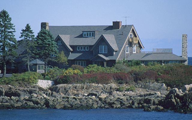 Former president George Bush and his family spend summers in this sprawling shingle-sided home in Kennebunkport Maine.