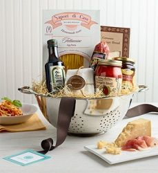 Foods of Italy Gift Basket ~ Pasta, Pasta Sauce, Salami, Olive Oil, etc. Placed in a Colander  gift ideas - gifts - hostess gift - present - housewarming - thank you gift - cool gifts - holiday - gift baskets - raffle gift - raffle basket - bridal gift - bridal shower favor - Christmas gift - teacher gift