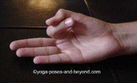 Vayu Mudra    Pull index finger toward palm, place tip of thumb on top to hold with slight pressure, straighten the remaining fingers.    Benefits: cures impurities of the blood circulation, benefits neck and spine. Consistent practice eliminates all wind related ailments like arthritis, joint pain, gout, vertigo, sciatica, knee pain and ceases gas formation.