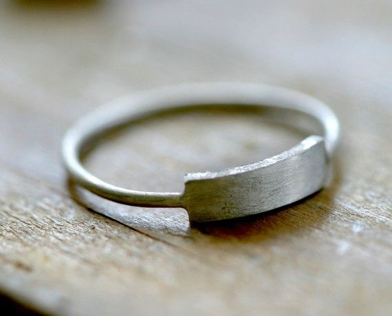 Modern silver rectangle ring E0221 by monkeysalwayslook on Etsy