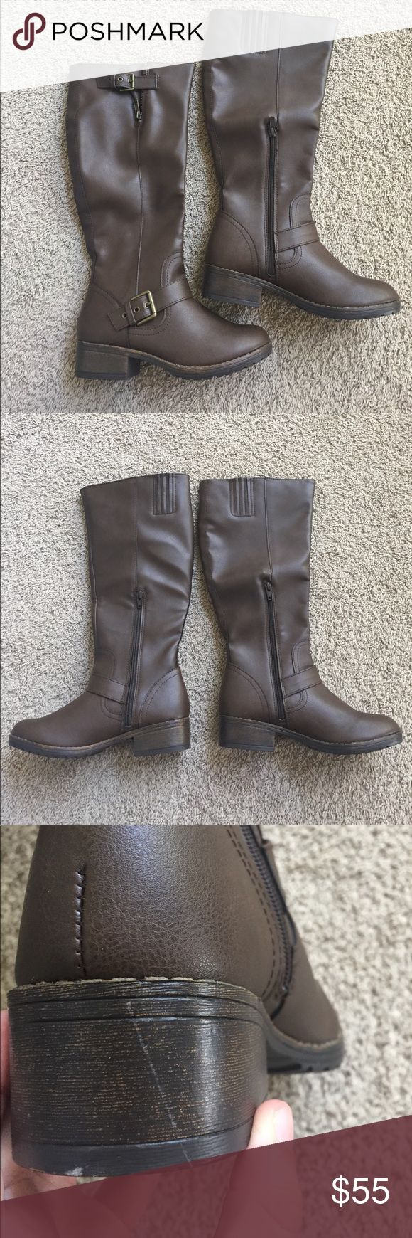 Wide Calf Boots Made for a wide calf. New condition. One small scratch (pictured) on the heel. Never worn. Chocolate brown color. Shoes Winter & Rain Boots