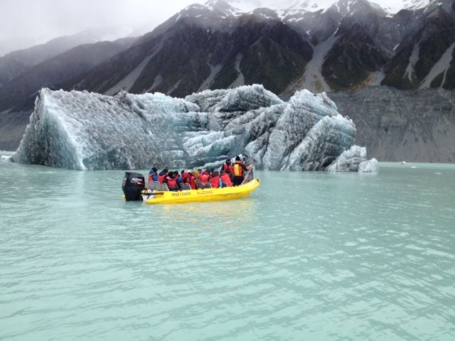 New Iceberg broken off from the Tasman Glacier Face November 2014. Glacier Explorers Tour, Mt Cook.
