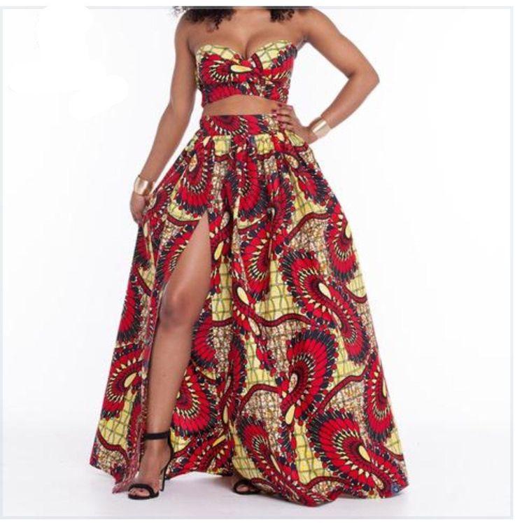 African Print Crop Top Maxi Shirt Sets