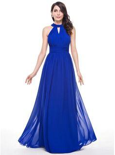 Vestidos princesa/ Formato A Decote redondo Longos De chiffon Vestido de madrinha com Pregueado