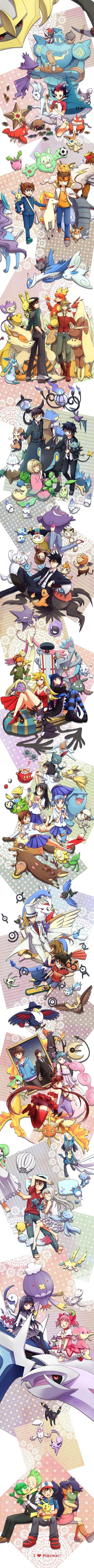 Pokemon Cross - Over  Yu-Gi-Oh! Zexal, Inazuma Eleven GO, Tiger & Bunny, Blue Exorcist, Yondemasu yo Azazel-san, Panty & Stocking with Garterbelt, Nichijou, Detective Conan, C-Control, Anohana: The Flower We Saw That Day, Puella Magi Madoka Magica, Pokemon.