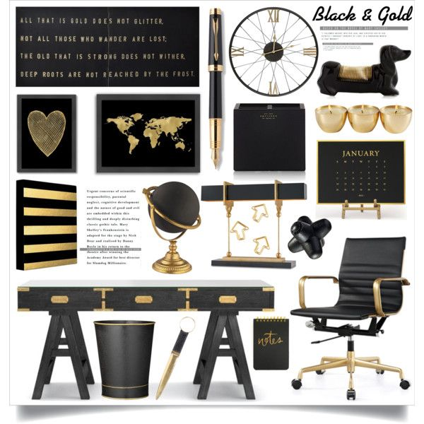 black gold office decor by hmb213 on polyvore featuring interior interiors interior design - Gold Home Decor
