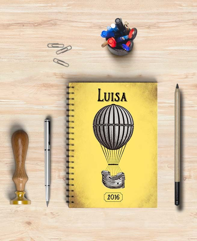 Libreta - agenda diseño globo antiguo. Libreta personalizable
