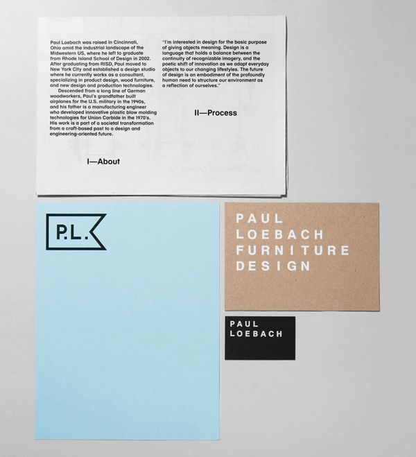 Logo, print and stationery with white ink detail for three dimensional designer Paul Loebach created by Studio Lin
