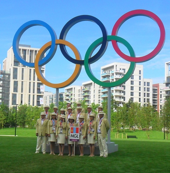 Day of the Team Welcome Ceremony: Team Mongolia in full uniform.