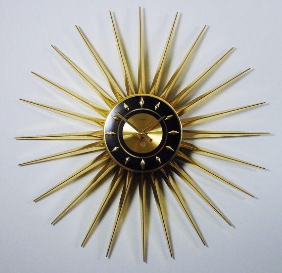 mid century modern starburst clock by welby 24 by clubmoderne