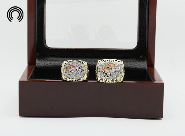 factory sales Ring sets with Wooden Boxes Replica 2pcs/Packs Denver Broncos Super Bowl Baseball Championship ring free shipping