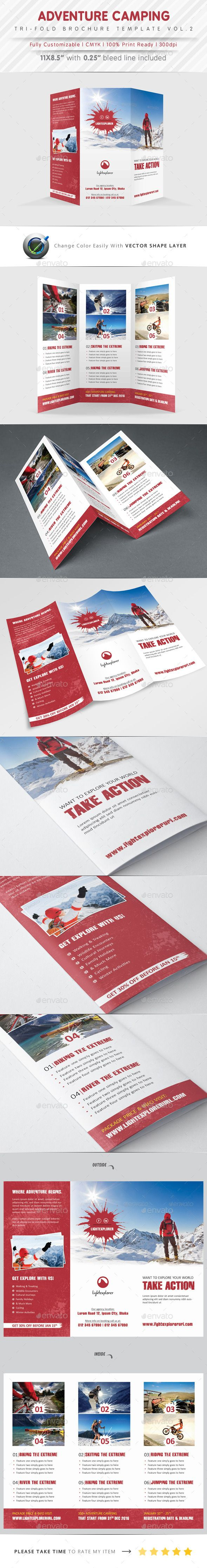 Stunning Adventure Camping Tri Fold PSD Template • Only available here ➝ http://graphicriver.net/item/adventure-camping-tri-fold-vol2/9916540?ref=pxcr