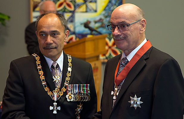 HONOURED: Sir Graeme Avery, pictured with Governor-General Sir Jerry Mateparae, today became a Knight Companion of the New Zealand Order of Merit. The ceremony was held at Government House in Auckland