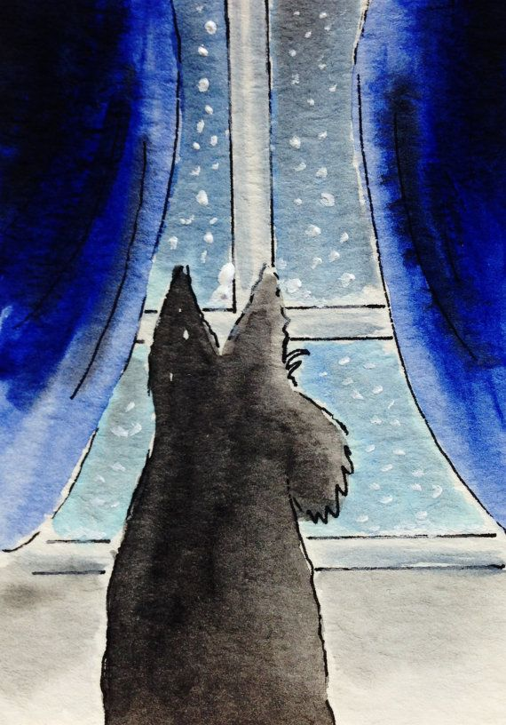 Scottish Terrier Dog 'Snowing' Art Print Scottie by ArchyScottie
