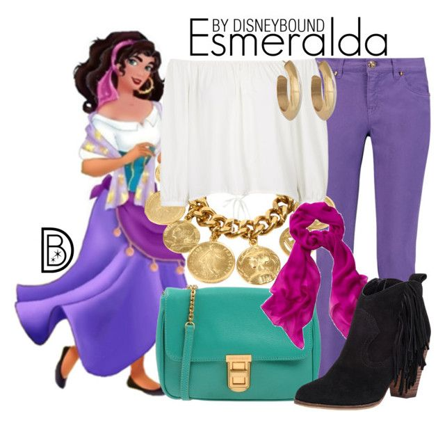 """""""Esmeralda"""" by leslieakay ❤ liked on Polyvore featuring Emilio Pucci, Ben-Amun, Topshop, Coccinelle, Steve Madden, House of Harlow 1960, disney, disneybound and disneycharacter"""