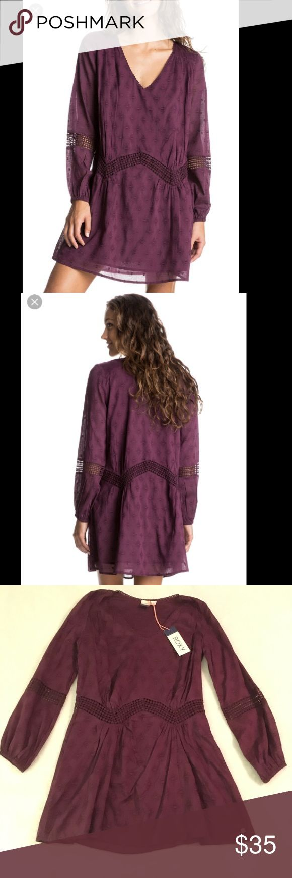 Roxy Plum dress NWT This is a brand new, with tags plum colored long sleeved dress by Roxy.  The body is fully lined, so it's not see through.  no swaps! Roxy Dresses Long Sleeve