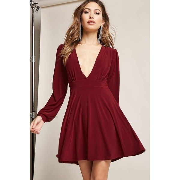 Forever21 Plunging Fit & Flare Dress ($35) ❤ liked on Polyvore featuring dresses, burgundy, plunging v neck dress, v neck fit and flare dress, burgundy long sleeve dress, v neckline dress and v-neck dresses