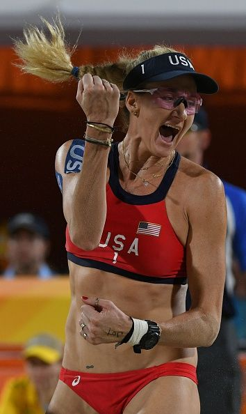 #RIO2016 Best of Day 1 - USA's Kerri Walsh Jennings reacts during the women's beach volleyball qualifying match between the USA and Australia at the Beach Volley Arena in Rio...