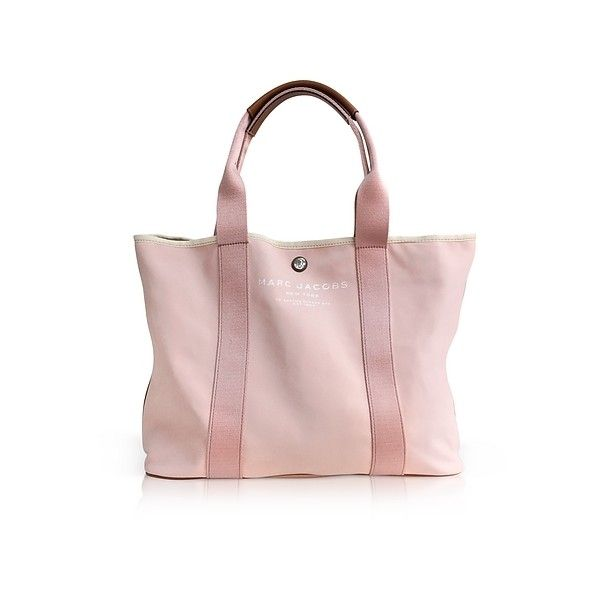 Marc Jacobs Handbags Pale Pink Canvas EW Tote ($250) ❤ liked on Polyvore featuring bags, handbags, tote bags, pink, marc jacobs tote, pink tote bags, marc jacobs tote bag, mini tote and pink canvas tote bag