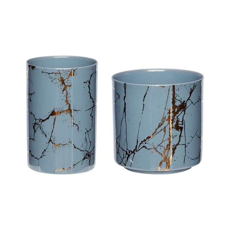 Blue and gold tealight holder. Product number: 420312 - Designed by Hübsch