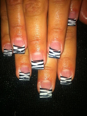 Zebra Painted Acrylic Nail Art- definitely need to be shorter.