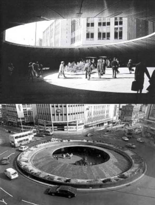 Sheffield hole in the road. I remember going to town as a little girl with my Mum and Dad walking hand in hand through this underground circle, checking out the little aquarium that was down there, going through to C & A and then having a Wimpy for tea (before McDonald's came to England) The 'hole' was demolished in 1994.