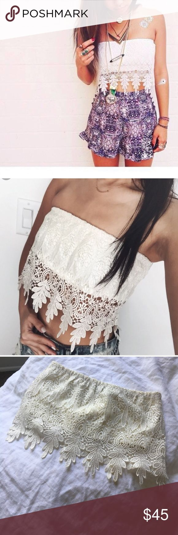 LF Paper Heart Crochet Tube Top - XS (aus-6) Cute crotchet tube top perfect for festivals and summer! Only worn once and in perfect condition. It is an Australian size 6 which is an XS and fits snug around chest. LF Tops Crop Tops