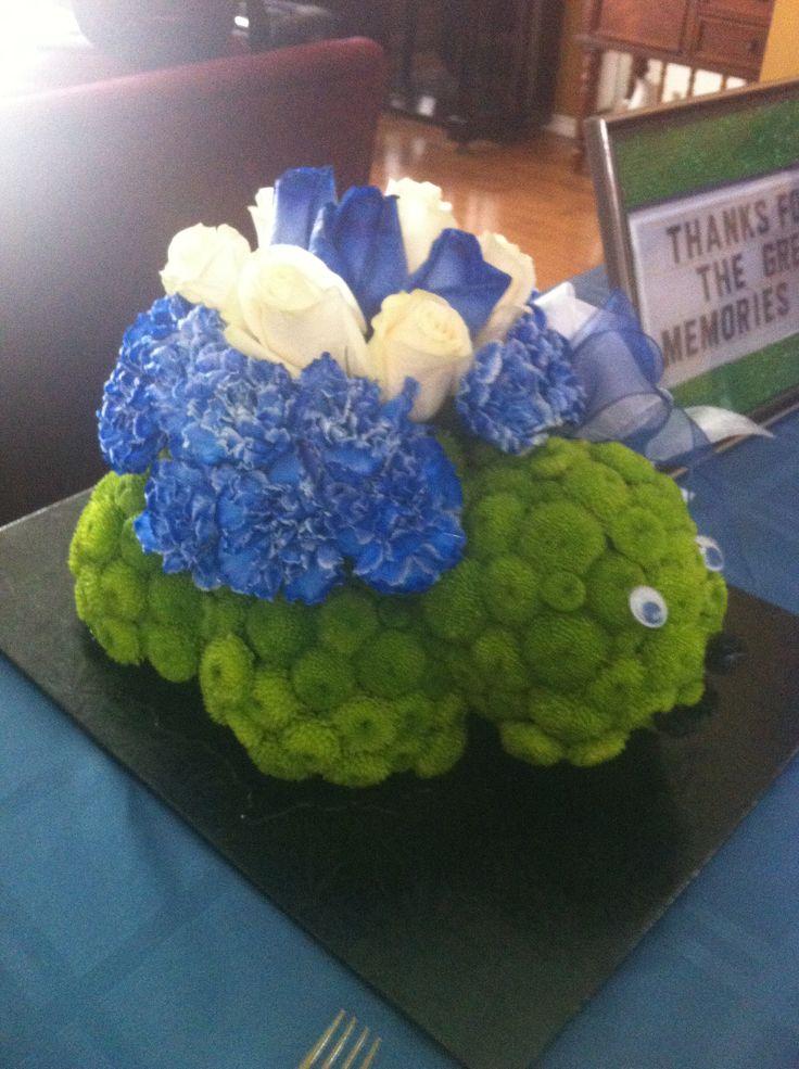 Turtle flower arrangement in honour of Dad!   Centerpieces ...