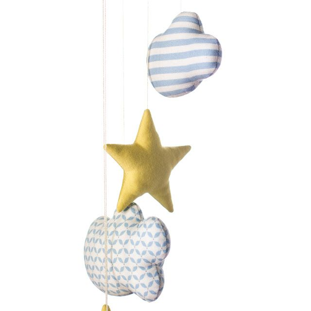 Stars and clouds detail made with plain and printed cotton fabrics. Mobile for little babies! By Jo handmade design