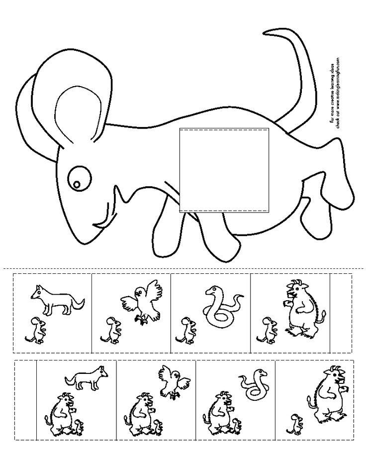Logische volgorde verhaal De Gruffalo (knip het vierkant uit de muis en schuif…